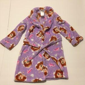 Sofia the first bathrobe size small 6/6x fleece